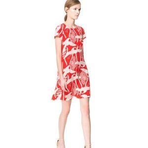 Zara Crane printed dress Medium